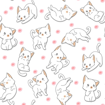 シームレスな多くのかわいい猫の模様。
