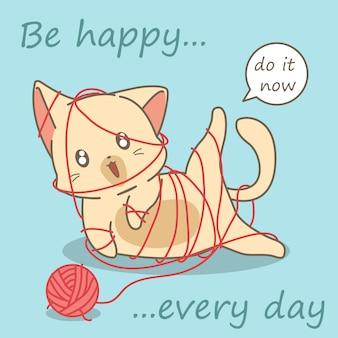 猫は糸で遊んでいます。