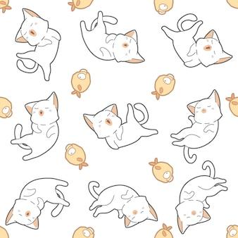 シームレスパターンの猫と魚。
