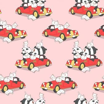 Безшовная животная семья и красная картина винтажного автомобиля.