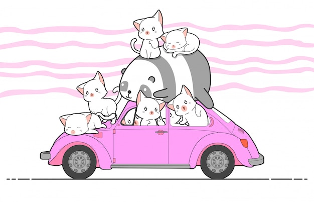 車で描かれたかわいい猫とパンダ。