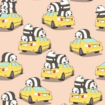 黄色の車のパターンにシームレスなパンダ。