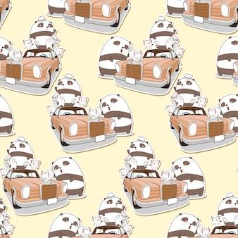 シームレスなかわいいパンダとビンテージ車のパターンを持つ猫。