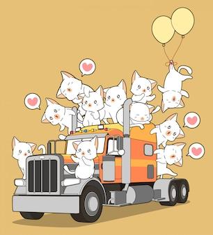 漫画のスタイルのトラックの上のかわいい猫。