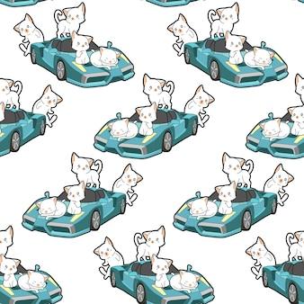 シームレスなかわいい猫と青いスーパーカーパターン