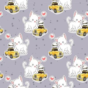 小さな黄色い車のパターンを持つシームレスなかわいい猫