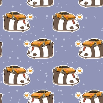 Бесшовные каваи панда любит супер автомобиль шаблон