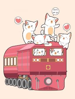 かわいい猫が電車の中で