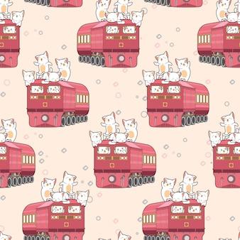 電車のパターンでシームレスなかわいい猫