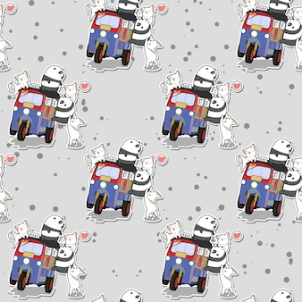カワイイパンダと猫のモーター三輪車パターン