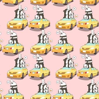 シームレスなパンダと猫黄色の車のパターン