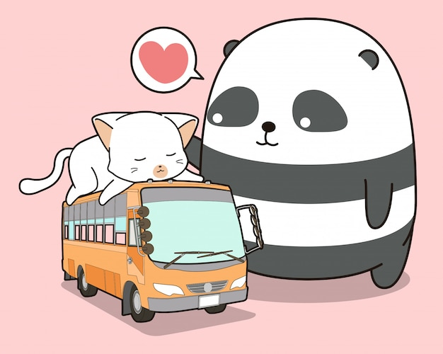バスに乗っているかわいいパンダと猫