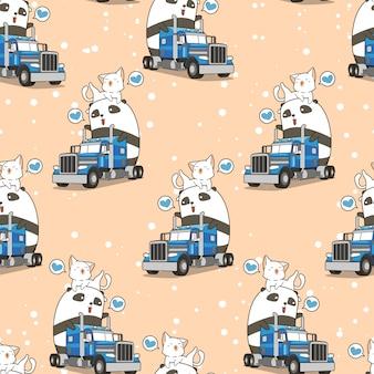 シームレスなかわいいパンダと休暇時間パターンでトラックの上の猫