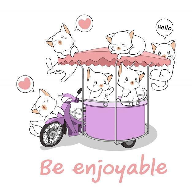 可愛い猫が携帯屋台のオートバイで