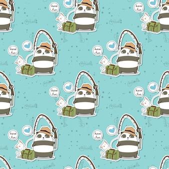 シームレスな釣りパンダとかわいい猫の休日パターン