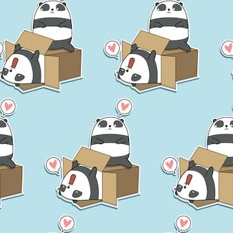 Бесшовные каваи панд и коробка шаблон