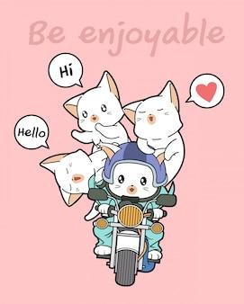 かわいいライダー猫と友達