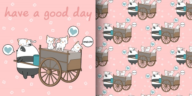 Бесшовные каваи кошек и панда с рисунком грузового транспортного средства