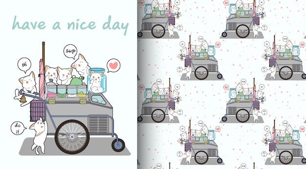 シームレスなかわいい猫のキャラクターと携帯屋台