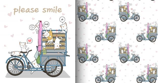 シームレスなかわいい猫のキャラクターと携帯用の屋台パターン
