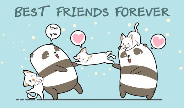 カワイイパンダと猫のキャラクターは私たちの友情を愛しています