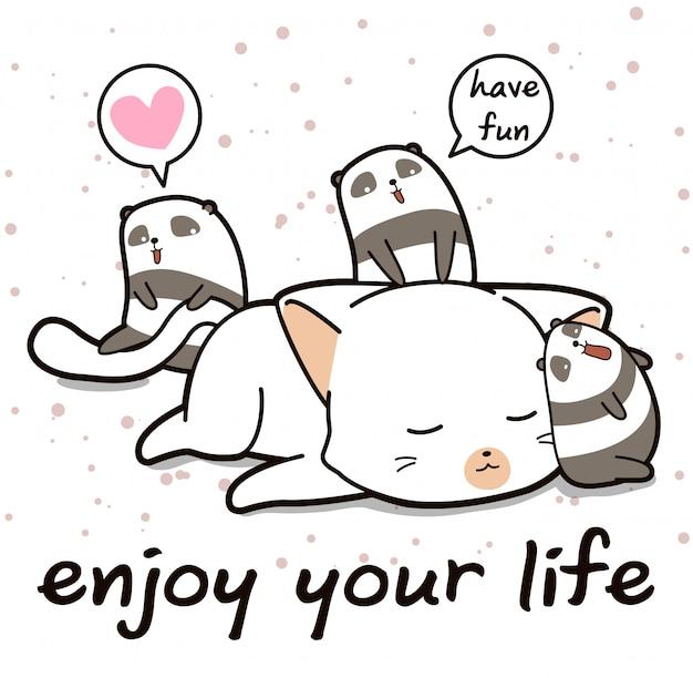 漫画のスタイルでかわいい猫とパンダの文字