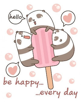 カワイイパンダとアイスクリームバー