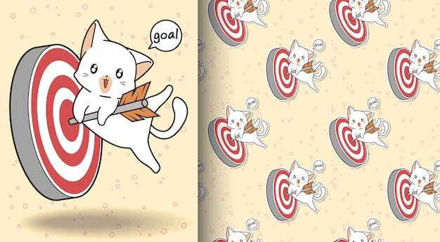 Бесшовные очаровательны кошка обнимает стрелку