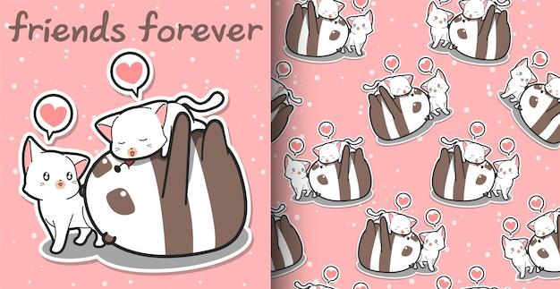 Бесшовные каваи панда и кошка герои мультфильмов на розовом