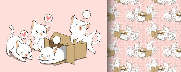 Бесшовные маленький белый кот в коробке и друзья шаблон