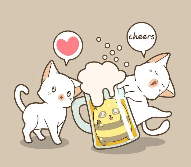 ビールのカップで愛らしい猫とパンダ