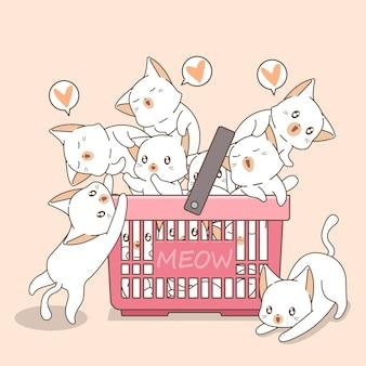 ピンクのかごの中の愛らしい猫