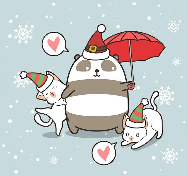 愛らしいパンダと猫のキャラクターがクリスマスの帽子をかぶっています