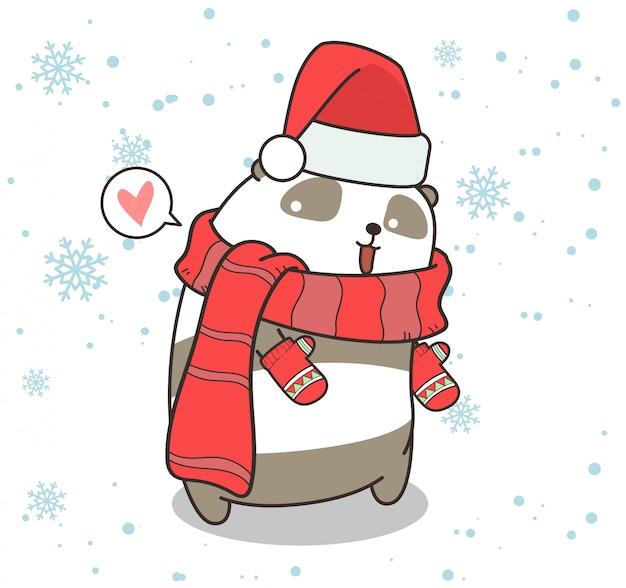 愛らしいパンダのキャラクターが冬のドレスを着ています