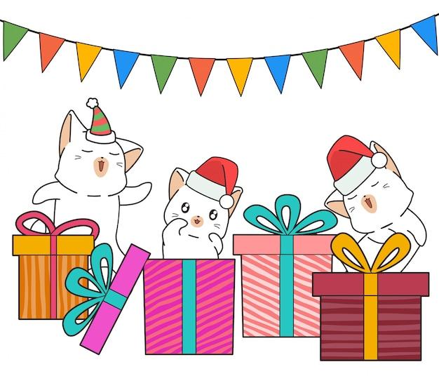 パーティーの愛らしい猫のキャラクターとギフトボックス