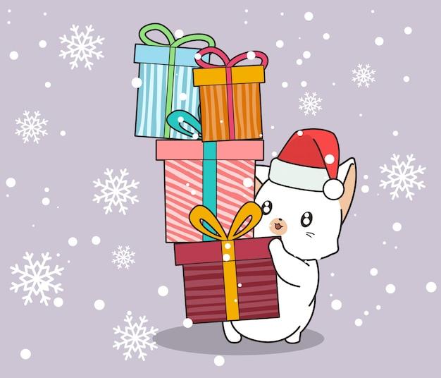 Очаровательная кошка держит подарочные коробки на фоне снежинки
