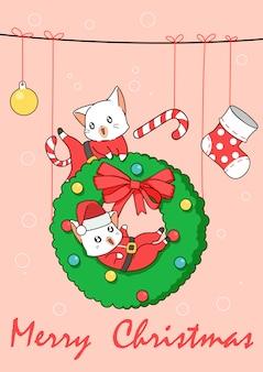Очаровательные кошки санта в рождество