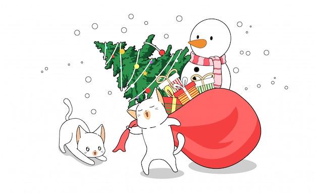 かわいい猫の漫画はクリスマスバッグをドラッグしています