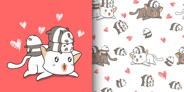 Бесшовные каваи большой кот и маленькие панды