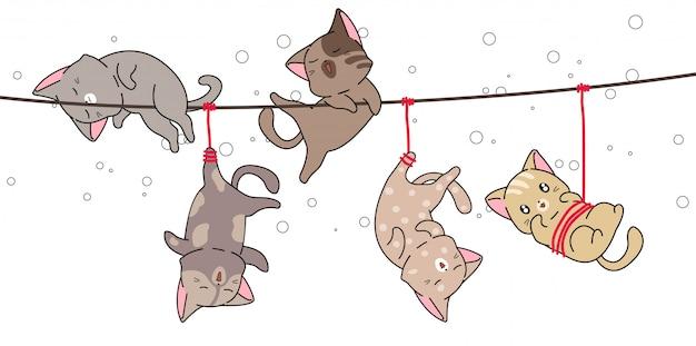 愛らしい猫がロープでつるされた