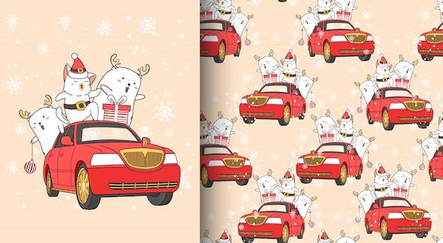 Бесшовные каваи санта-кошка и друг с автомобилем