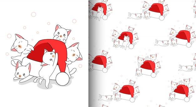 Бесшовные каваи кошек и новогодняя шапка