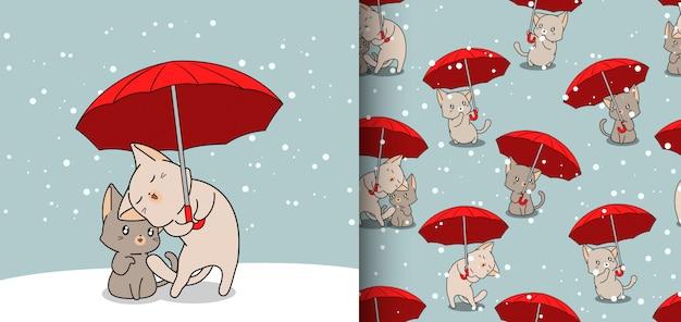 Бесшовные модели каваий кошек в зонтике на фоне снега