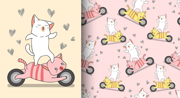 シームレスパターンかわいい猫はオートバイの猫に乗っています。