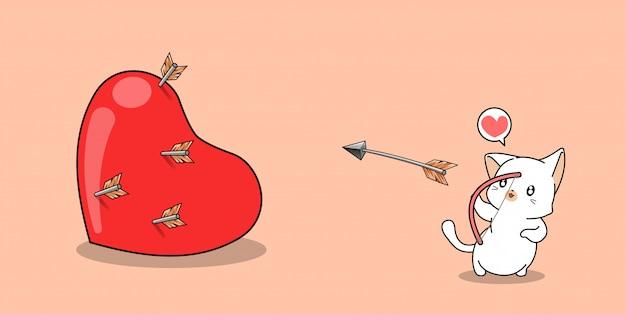 Очаровательная кошка-лучник снимает большое сердце в день святого валентина