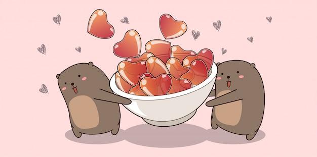 Очаровательные медведи держат сердца на день святого валентина