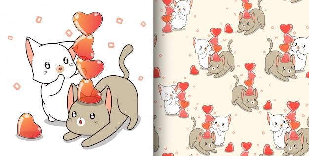 シームレスパターンカップル猫キャラクターがゼリーの心を遊んでいます