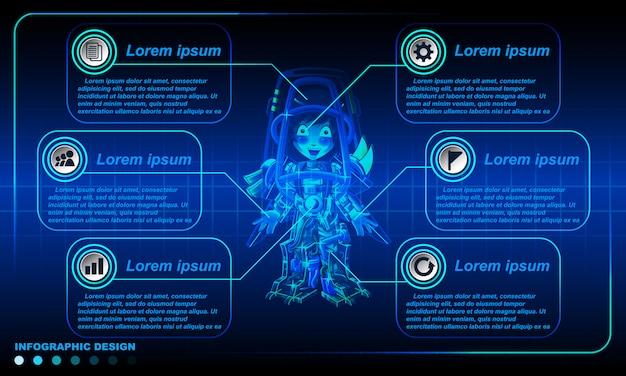 Роботизированная инфографика дизайн шаблона.