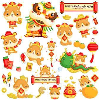中国の新年の犬の年