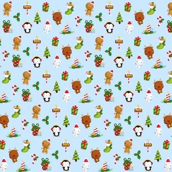 かわいいクリスマスアイテムの背景